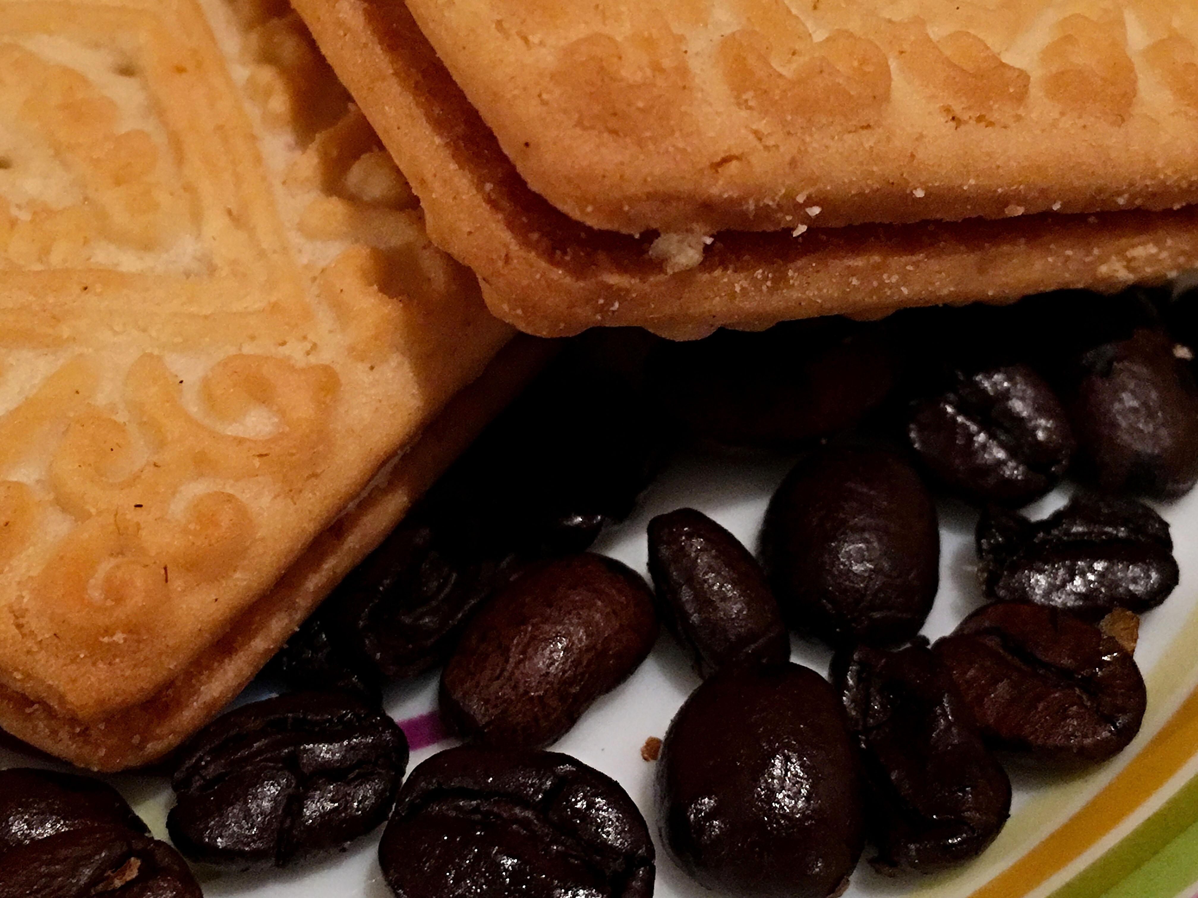 custard creams and coffee beans
